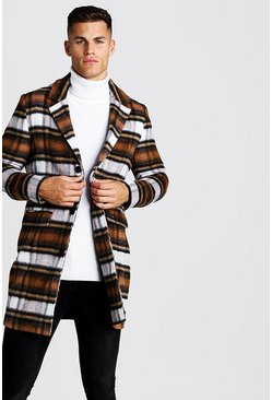 Mens Tan Wool Blend Overcoat In Brushed Check