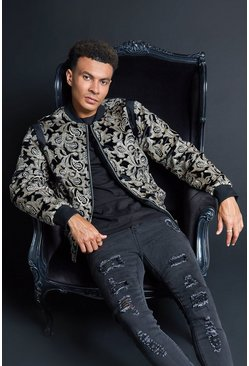 Mens Black Premium Baroque Sequinned Velour Bomber