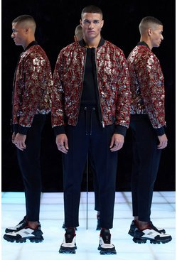 Mens Red Premium Floral Sequinned Velour Bomber