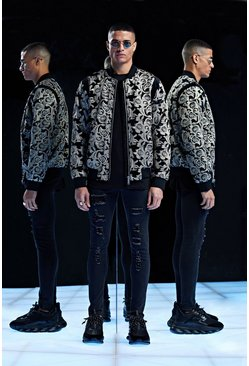 Mens Black Premium Baroque Velour Bomber With Sequins