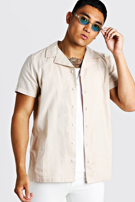Mens Stone Cotton Textured Short Sleeve Revere Shirt