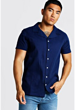 Mens Navy Cotton Textured Short Sleeve Revere Shirt