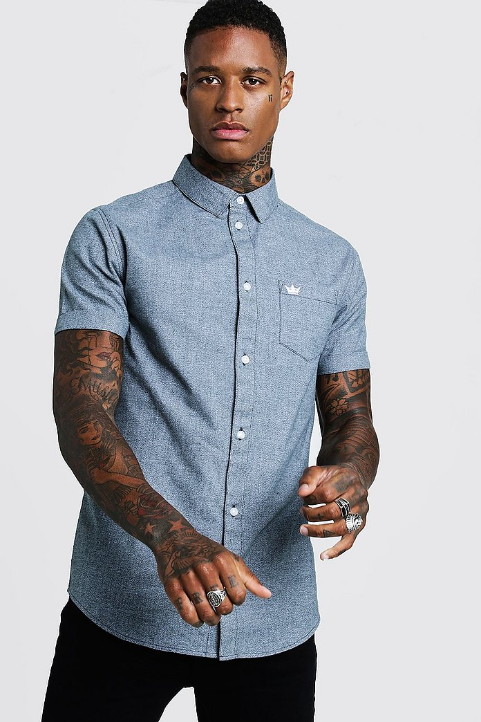 Two Tone Cotton Short Sleeve Shirt   boohoo