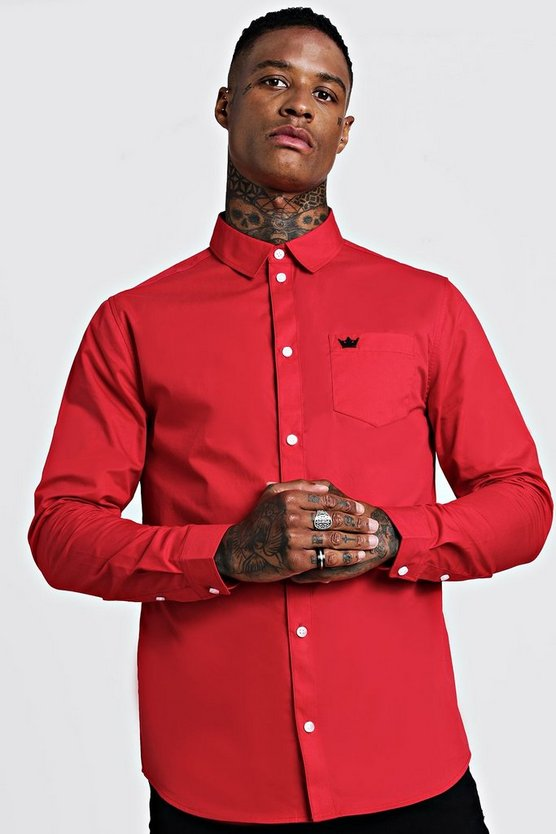 Red Cotton Twill Long Sleeve Shirt