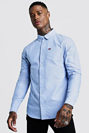 Mens Blue Cotton Oxford Long Sleeve Shirt