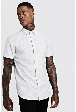 Mens White Cotton Tencel Short Sleeve Shirt