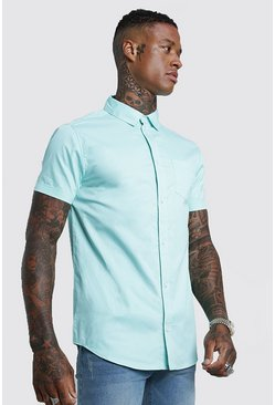 Mens Aqua Cotton Poplin Short Sleeve Shirt