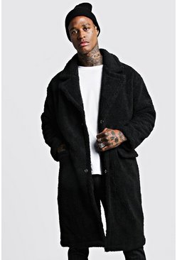 Mens Black Longline Borg Overcoat