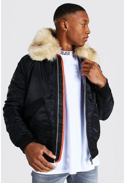 Mens Black Padded MA1 Bomber With Faux Fur Collar
