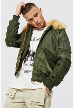 Mens Khaki Padded MA1 Bomber With Faux Fur Collar