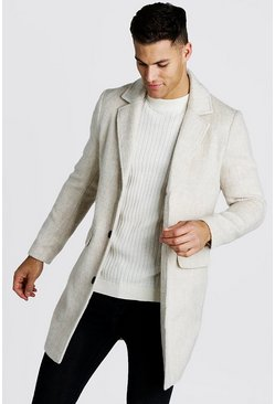 Mens Beige Brushed Wool Look Overcoat
