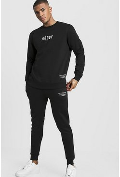 Mens Black MAN X Abode Sweater Tracksuit
