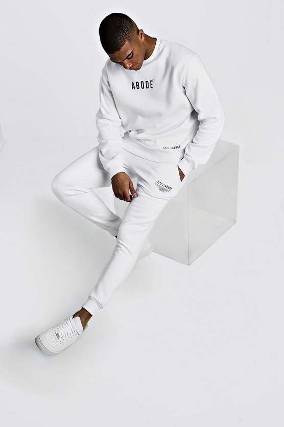 Mens White MAN X Abode Sweater Tracksuit