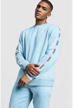 Mens Light blue MAN X Abode Sweater With Tape Detail
