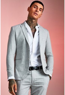 Mens Light grey Textured Skinny Fit Suit Jacket