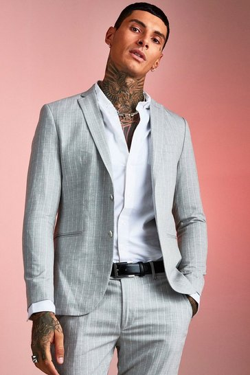 Light grey Textured Skinny Fit Suit Jacket