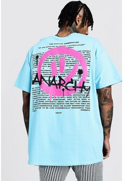 Mens Blue Oversized Spray Paint Front & Back Print T-Shirt