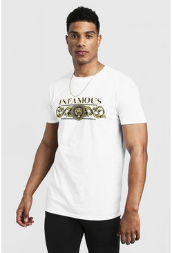 Mens White Infamous Slogan And Baroque T-Shirt