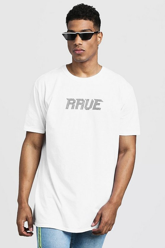 White Oversized Rave Diamante Slogan Tee
