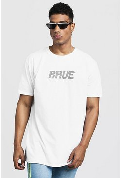 Mens White Oversized Rave Diamante Slogan Tee