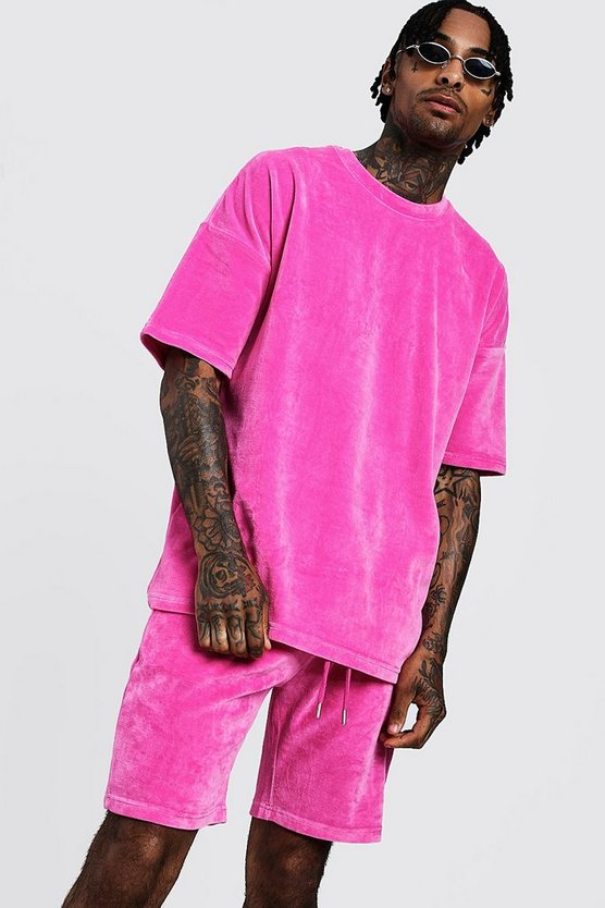 Mens Pink Drop Shoulder Velour T-Shirt & Short Set