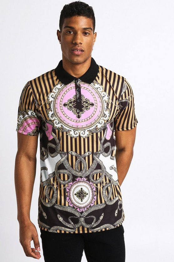 Mens Black Short Sleeve Baroque Print Polo