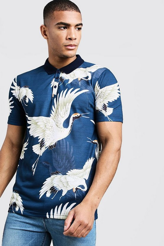 Mens Navy Short Sleeve Oriental Crane Print Polo