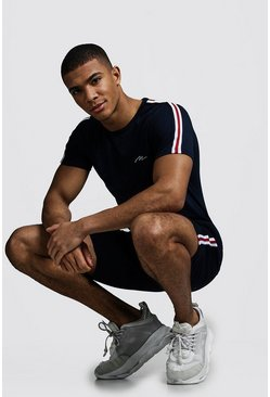 Mens Navy MAN Signature T-Shirt & Short Set With Tape