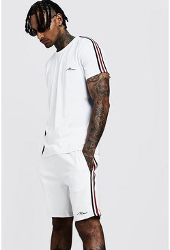 Mens White MAN Signature T-Shirt & Short Set With Tape