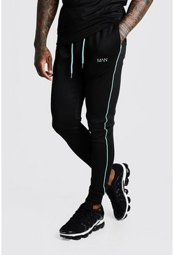 Black MAN Active Muscle Fit Aqua Tape Jogger