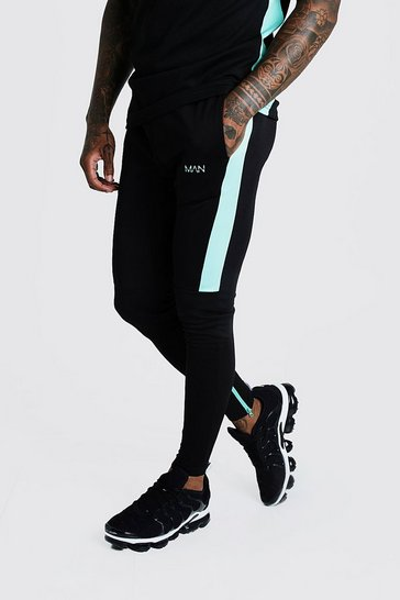 Mens Aqua MAN Active Skinny Fit Joggers With Side Panels