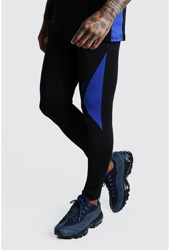 Herr Cobalt MAN Active Compression Tights With Side Panels