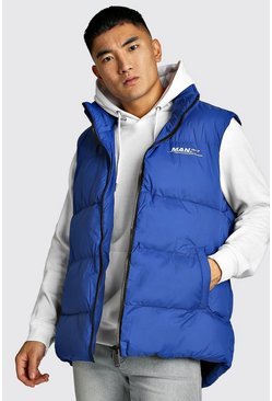 Mens Cobalt Oversized Drop Hem Sleeveless Puffer