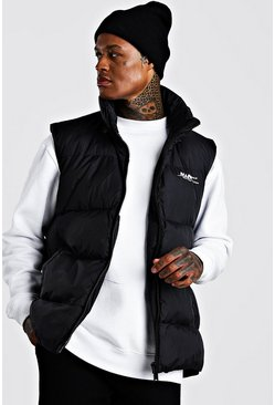 Mens Black Curved Hem Padded Gilet