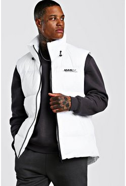 Mens White Curved Hem Padded Gilet