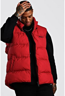 Mens Red Curved Hem Padded Gilet