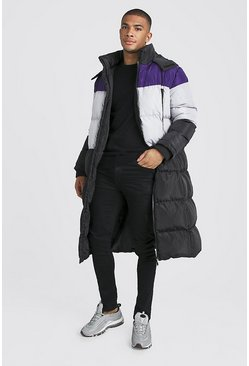 Purple Longline Duvet Puffer In Colour Block