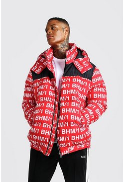 Mens Red MAN Printed Puffer Coat