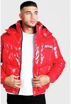 Mens Red MAN High Shine Puffer Coat