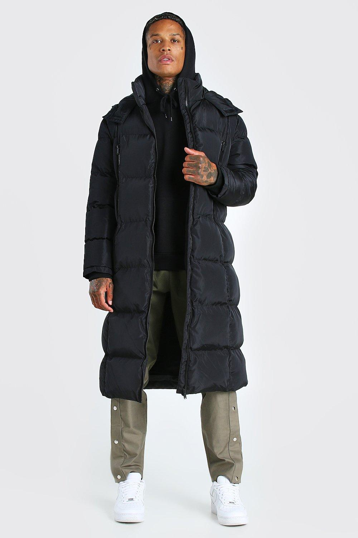 mens longline duvet puffer with zips - black
