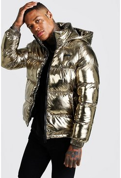 Mens Gold Metallic Puffer Jacket