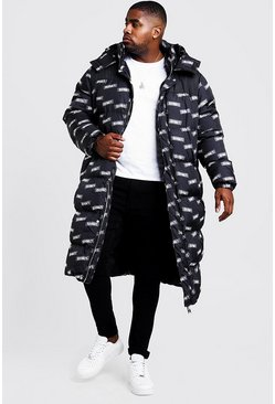 Mens Black Big & Tall MAN Printed Longline Puffer Coat