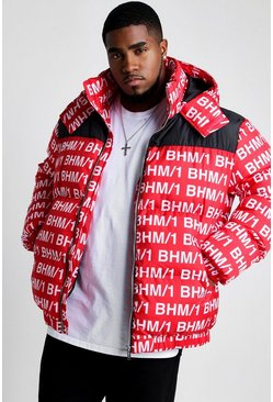 Mens Red Big & Tall MAN Printed Puffer Coat