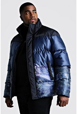 Black Big & Tall Night Sky Printed Puffer Coat