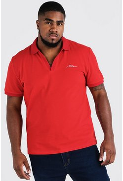 Mens Red Big & Tall MAN Signature Revere Collar Polo