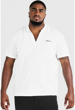 Ecru Big & Tall MAN Signature Revere Collar Polo