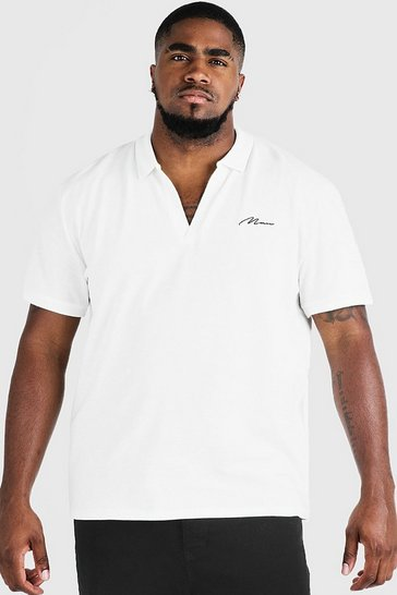 Mens Ecru Big & Tall MAN Signature Revere Collar Polo