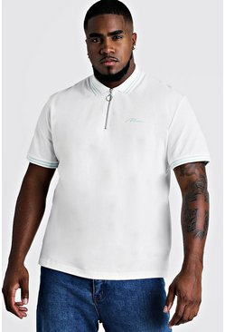 Mens Ecru Big & Tall MAN Zip Though Polo With Tipping
