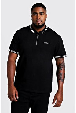Mens Black Big & Tall MAN Zip Through Polo With Tipping