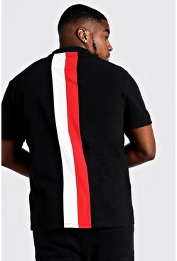 Red Big & Tall MAN Zip Through Colour Block Polo